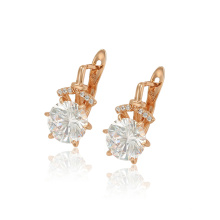 97278 xuping rose gold color beauty synthetic zircon fashion ladies hoop earrings