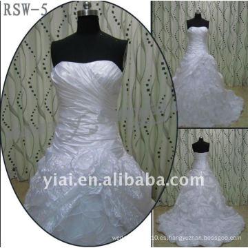 RSW-5 2011 venta caliente nuevo diseño de las damas de moda elegante vestido de novia de vestido de bola real personalizada