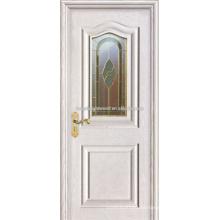 Weiß lackiert Arc Form 2 MDF angehoben Molding Verkleidungstüren mit Kunstglas