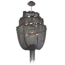 Modern black aluminum chain lamp staircase Long Black Suspension metal Chain black Chandelier