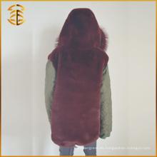 Nuevo estilo personalizado barato diseños de largo zorro de piel de zorro de abrigo Parka