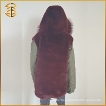 New Style Custom Cheap Designs Long Trench Fox Fur Coat Parka