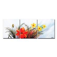 Pintura a óleo nova moderna da flor do sumário do projeto na lona (FL3-211)