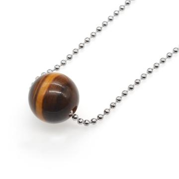 Natural 18MM Round Semi Precious Stone Sphere  Crystal Balls Charms Chain Necklace