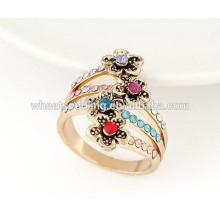 2015 Nuevos anillos personalizados de la flor del rhinestone de la manera