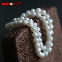 6-7мм двойной круглый природных пресной воды Pearl браслет ювелирные украшения (E150059)