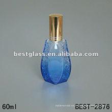 La botella de cristal pintada azul 60ML con el rociador y el casquillo, impresión de serigrafía es aceptable