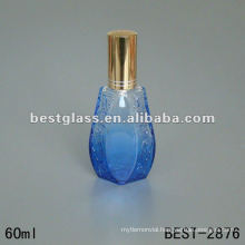 60ML blue painted glass bottle with sprayer and cap,silkscreen printing is acceptable