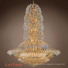 Araña de cristal clásica de lujo grandes lámparas grandes del pasillo del hotel iluminación cristalina de las luces pendientes