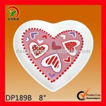 placa de coração de porcelana