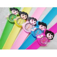 Yxl-353 New Style Children Cartoon Slap Strap Watch Mickey Minnie Animal Quartz Kids Watches