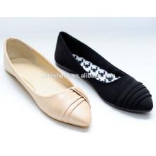 2015 nouvelles chaussures plates élégantes et élégantes avec des rides sur les chaussures de ballet supérieures pour femme