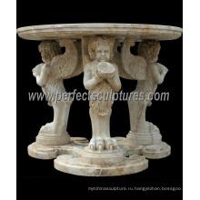 Резной камень мраморный стол для античного домашнего украшения (QTB046)