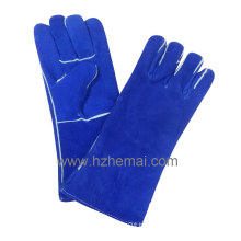 Blue Cow Split Leather Welding Gloves Safety Work Glove