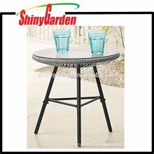 Samll Tischständer von Acapulca Chairs Rattantisch mit 5 temperiertem Glas