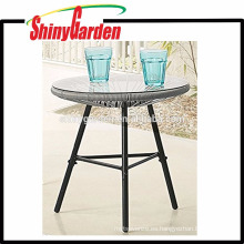 Samll Table Stand de Acapulca Chairs Rattan Table con 5 vidrios templados