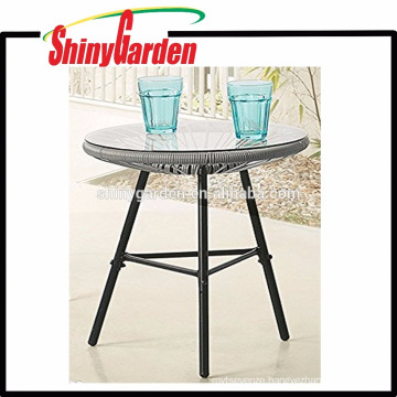 Samll Table Stand of Acapulca Chairs Rattan Table with 5 Tempeted Glass