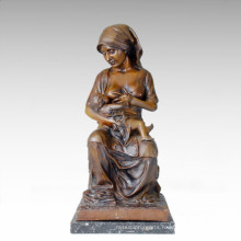 Eastern Life Statue Figure Mother-Son Bronze Sculpture TPE-108