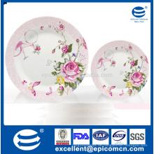 Garten Serie rosa rosige Blüte auf Stamm Muster verziert Porzellan Kompott Platten gesetzt