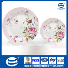 Serie de jardín rosado rosa flor en tronco patrón decorado porcelana compota placas conjunto