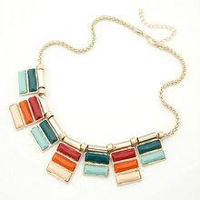 Korea Style Elegant Colorful Cubic Necklace Jewelry FN30