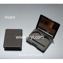 Preto com espelho cosmético embalagem de amostra paleta de sombra de sombra