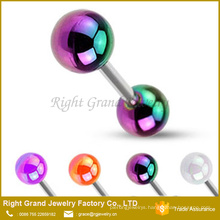 Customized AB Coated UV Acrylic Stainless Steel Piercing Tongue Rings