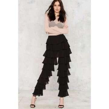 Ruffle Round Chiffon Women Pants