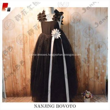 Elegant dark full-length evening dress for party