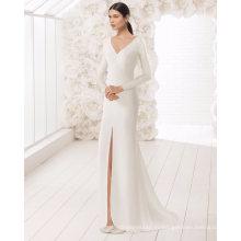 С Длинным Рукавом V Образным Вырезом Атласная Свадебное Платье