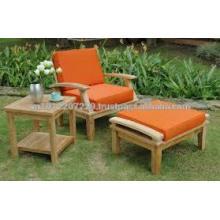 Massivholz Outdoor / Gartenmöbel Set - Sonnenliege