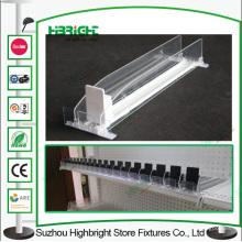 Supermercado Display empurrador de plástico prateleira para garrafas