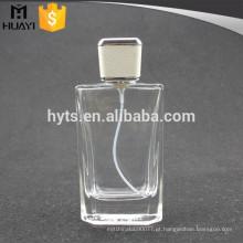 Frasco de perfume 100ml com tampa de couro branco