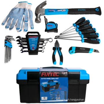 "FIXTEC 26 pcs Hand Tools  Set With Heavy Duty Plastic Tool Box 17"""