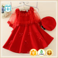 New arrival fashion children girl red dress/hat with high quality and cheap price fall/winter wear little girls dress wholesale