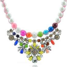 Colorful Imitation Pearl Flower Necklace For Women In Party