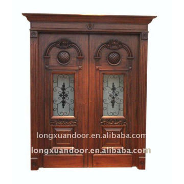 Carved solid wood door&double opened outside door