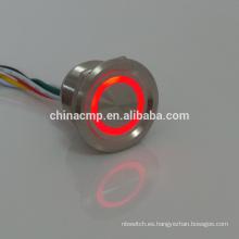 Sellado, larga vida, 12v ROJO VERDE led Interruptor antivandalismo de metal iluminado (interruptor piezoeléctrico impermeable IP68), CE, certificaciones TUV