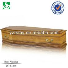 Estilo europeu com forro profissional e tratar de zinco para o caixão de pinho