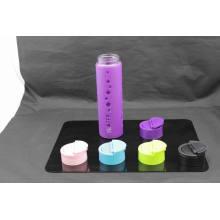 20oz garrafa de água de vidro com luva de silicone PP tampa
