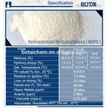Hydroxypropyl Methyl Cellulose HPMC pour Constrction du bâtiment
