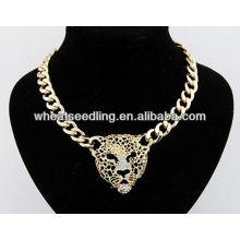 Gros style européen personnalité léopard tête lariat collier bijoux JN14