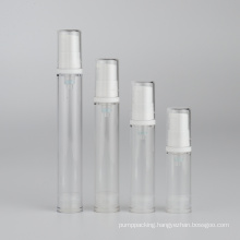 5ml 10ml 12ml 15ml low MOQ clear plastic airless serum bottle with white press pump in stock transparent lotion bottle