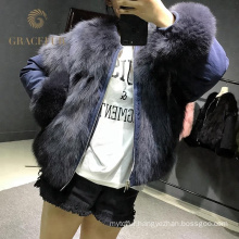 winter newest design real fox fur waistcoat designer winter coat for ladies