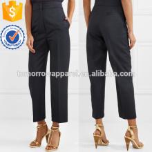 Pantalon à jambe droite en sergé de laine Fabrication en gros Vêtements pour femmes (TA3002P)