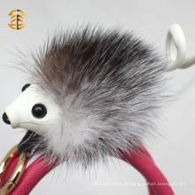 Populärer neuer Schlüsselring-Zusatz-echter Fox-Pelz-kundenspezifischer Hedgehog-Pelz Keychain