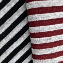 Tissu tricoté en lin teinté de fil pour t-shirt (QF14-1546-SS)