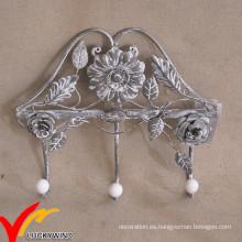 Vintage Decorativo de metal de pared montada en el escudo Rack Ganchos