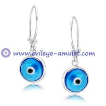 Evil Eye Blue Dangle Earrings 925 Sterling Silver