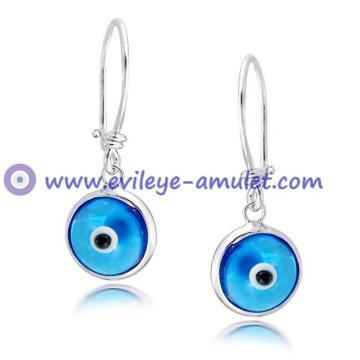 Evil Eye Blue Dangle Earrings 925 Sterling Silver